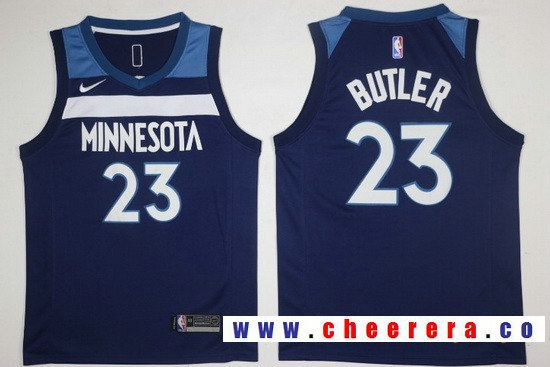 size 40 abd41 b2546 Men's Minnesota Timberwolves #23 Jimmy Butler Navy Blue 2017 ...