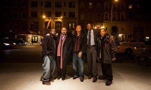 Antron McCray, Raymond Santana Jr, Kevin Richardson, Yusef Salaam and Kharey Wise outside a theater before the New York premiere of The Central Park Five, in 2012.