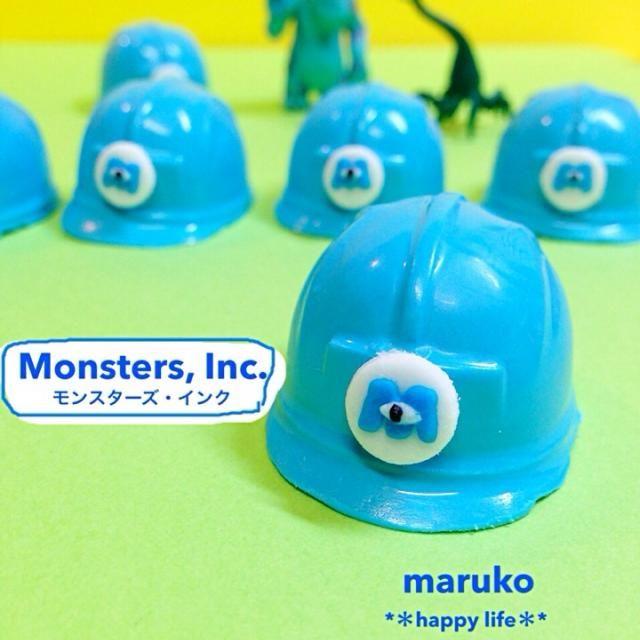 ヘルメット第2段! モンスターズ・インクアイシングのおまけに作ってみました!笑 中味はクランキーガナッシュ♪ - 268件のもぐもぐ - モンスターズ・インクのヘルメットチョコ♡ by TAEKO ITO
