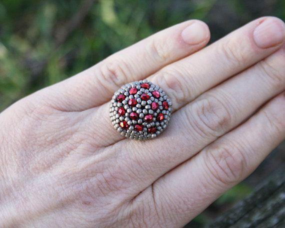 grey ring statement ring seed bead ring by koralikowyraj on Etsy, #greyring, #statementring, #seedbeadring, #koralikowyraj