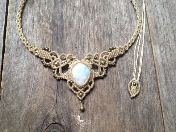 Micro macrame necklace elven tiara - Custom order with moonstone  - boho jewelry elven macrame micro-macrame necklace tribal