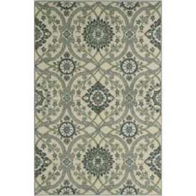 Maples Rugs Blue/Green Rectangular Indoor Machine-Made Throw Rug (Common: 3 X 4; Actual: 2.5-Ft W X 3.83-Ft L X 0-Ft Dia