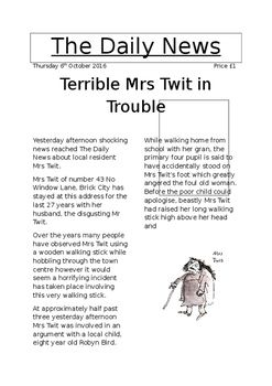 Model newspaper article for The Twits novel study/IDL. Can be used for any literacy activity from reciprocal reading, comprehension etc to a model piece of writing for children creating a newspaper article based on The Twits. Includes the use of VCOP.