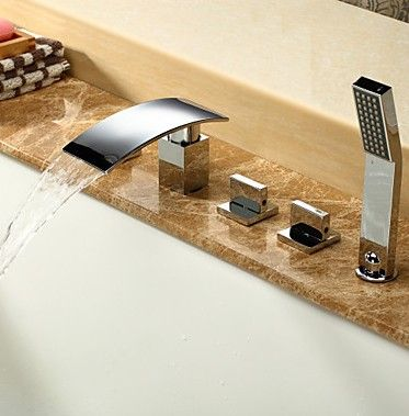 Contemporary Waterfall Tub Tap with Hand Shower Chrome Finish T6017  http://www.uktaps.co.uk/bathtub-taps-c-21.html