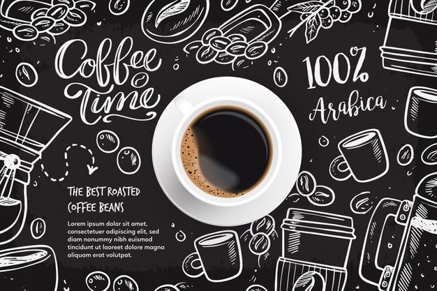 Download Realistic Coffee Background With Drawings For Free Coffee Vector Coffee Wallpaper Coffee Doodle Coffee house wallpaper free download