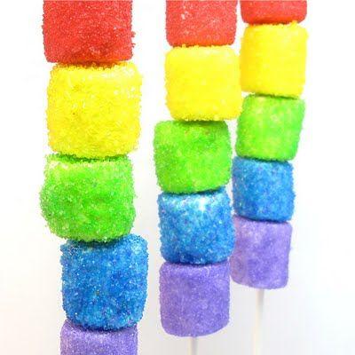 Sparkly rainbow marshmallow kebabs #candy #foodonastick