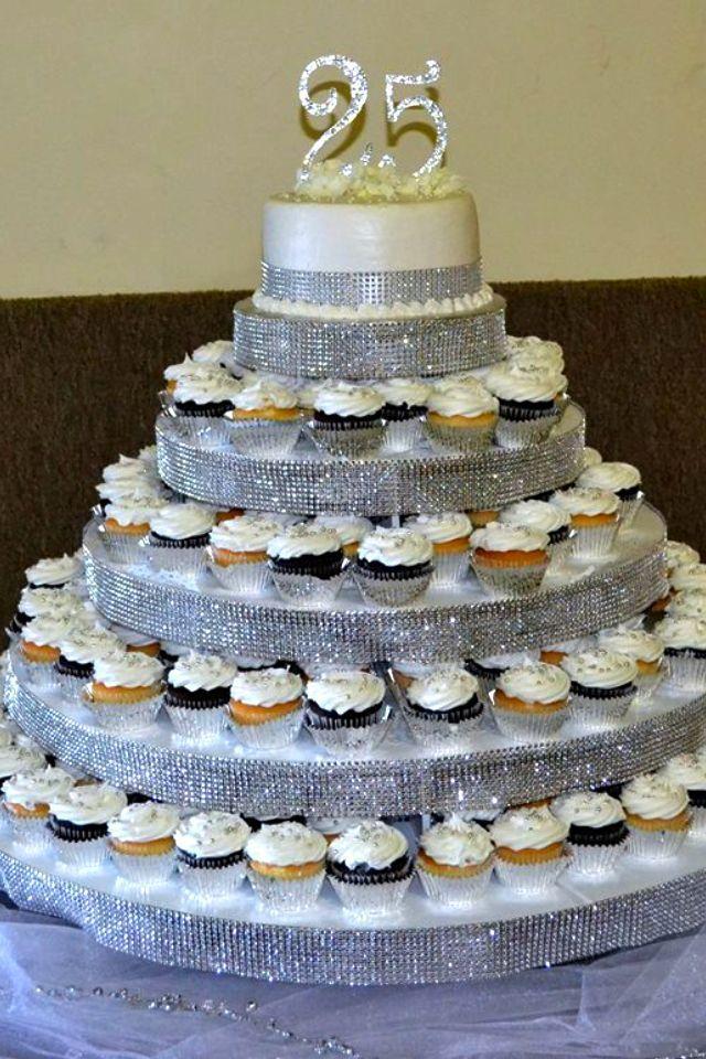 Cupcake Cake For A 25th Wedding Anniversary 25th Wedding