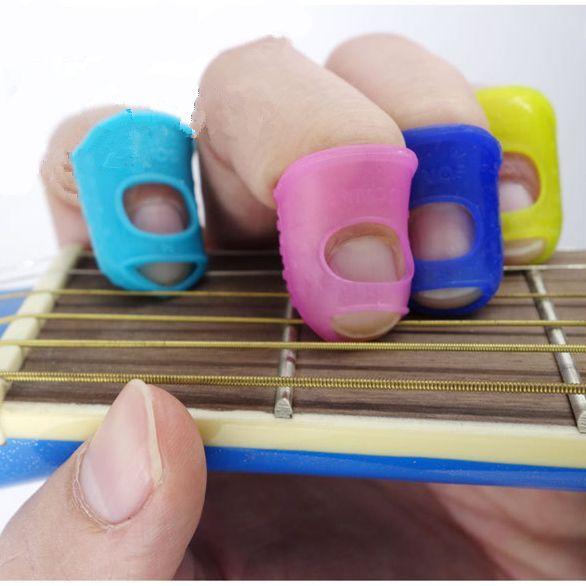 5 pcs Silicone Protector Plectrum Gitar Picks Jari Jempol Ujung Jari bidal Jari Penjaga keselamatan lindungi caps Warna Acak