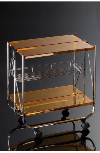 Cerrello pieghevole in plexiglass color ambra #Giadaliving #carrelli #servire