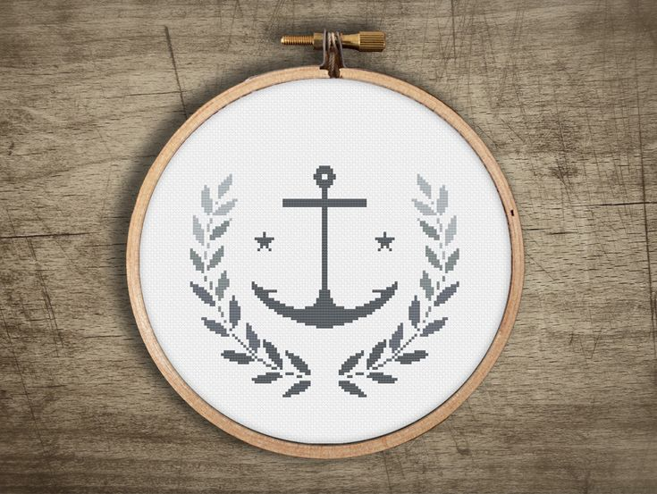 modern cross stitch pattern  retro anchor wreath leaf