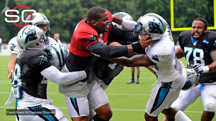 Cam Newton of Carolina Panthers gets into scuffle after he shoves Josh Norman