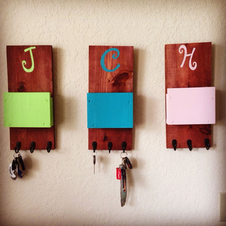 Key and mail holders I made for the roommates and I. Keeps clutter off the counters and let's us know whose home. #diy #apartmentliving