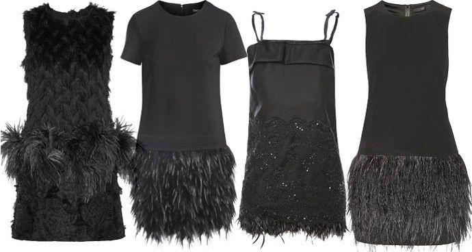 Маленькое черное платье с перьями