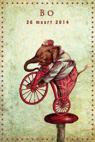 Geboortekaartje meisje - Olifant - Pimpelpluis - https://www.facebook.com/pages/Pimpelpluis/188675421305550?ref=hl (# olifant - fiets - paddestoel - hoed - bloem - dieren - grappig - vintage - retro - circus - origineel)