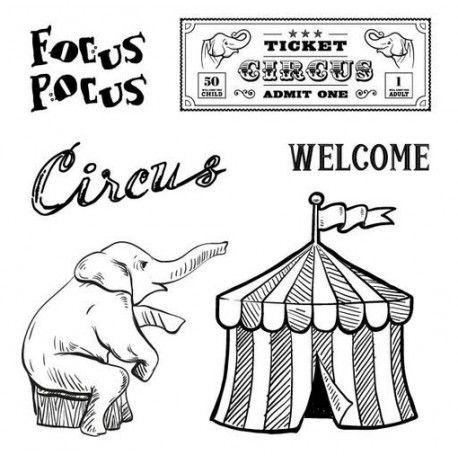 tampon scrapberrys dessin cirque elphant ticket