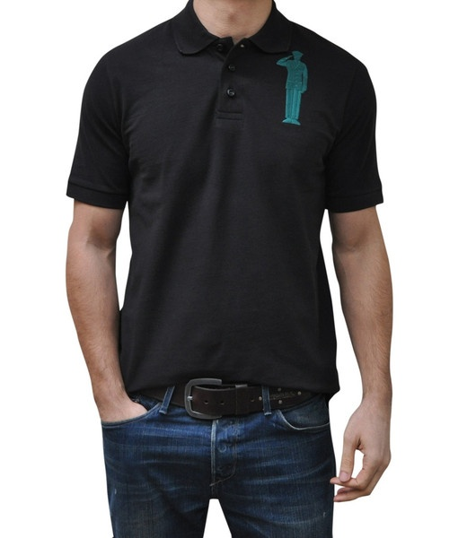 Black Polo. 100% Organic Cotton. 3 button placket. Bold Embroidery Front & Back.  Model 6' ft, waist 31 wearing Small Bold Polo. Order online: http://www.el-capitano.com/collections/polos/products/black-polo