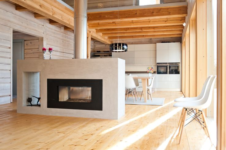 Modern log house, fireplace.