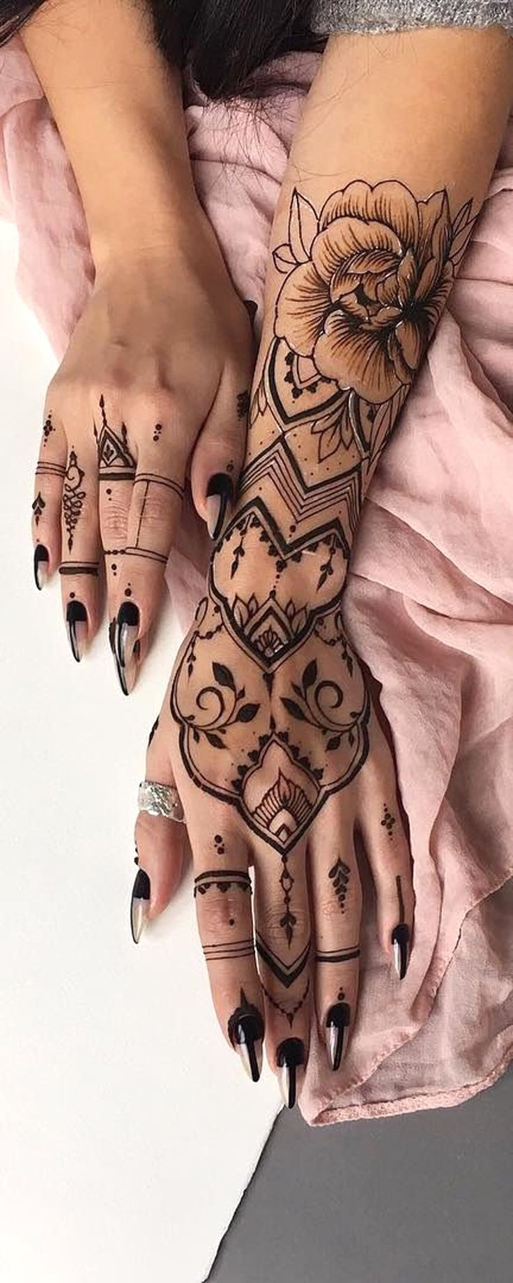 Black Henna Tribal Bohemian Hand Tattoo Ideas for Women - Realistic Rose Forearm Tat -  ideas de tatuaje de antebrazo rosa para mujeres - www.MyBodiArt.com