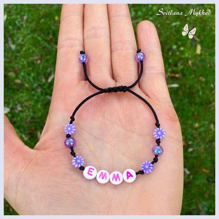 """Bracelet """"Emma"""" . Bracelet avec message ou prenom personnalisable perles acryliques multicolores r : Bijoux enfants par perles-et-couronnes"""