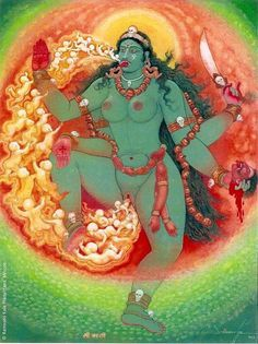 Kali, Happy Diwali and Kali puja painting by Shri GLN Simha