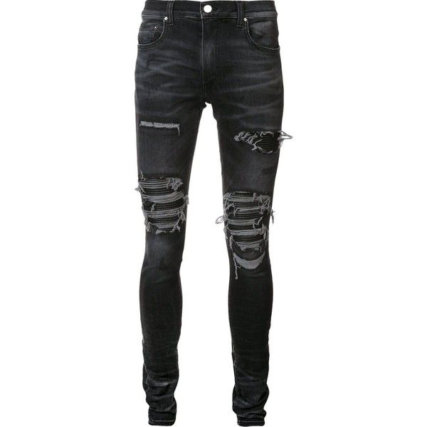Amiri distressed skinny jeans ($1,510) ❤ liked on Polyvore featuring men's fashion, men's clothing, men's jeans, black, mens ripped jeans, mens distressed jeans, mens torn jeans, mens ripped skinny jeans and mens destroyed jeans