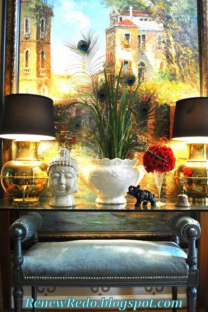 OMG.. love these brass ginger jar lamps!!! ReNew ReDo!: Blue Velvet And Metallic Paint ~ Bench Redo