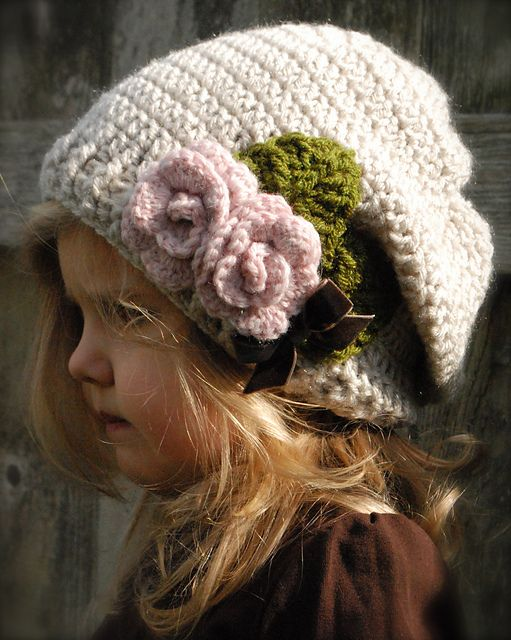 Easy hat - love the rose embellishment. Must make for my girls!
