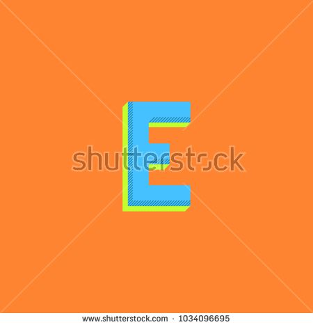 Logo E letter minimal bold style. Halftone colors simple typography print emblem mockup. Isometric shape initial.
