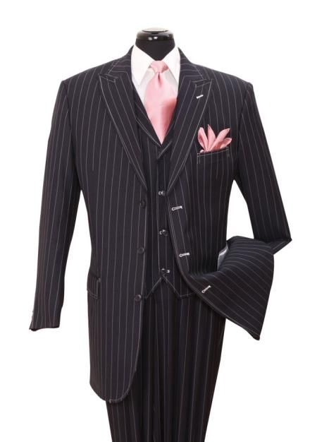 Navy Gangster Striped Vested Urban Men Suits $139.00 AT vintagedancer.com
