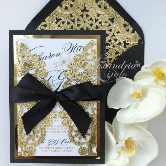 Black And Gold Wedding: 17 Best Ideas About Black And Gold Invitations On