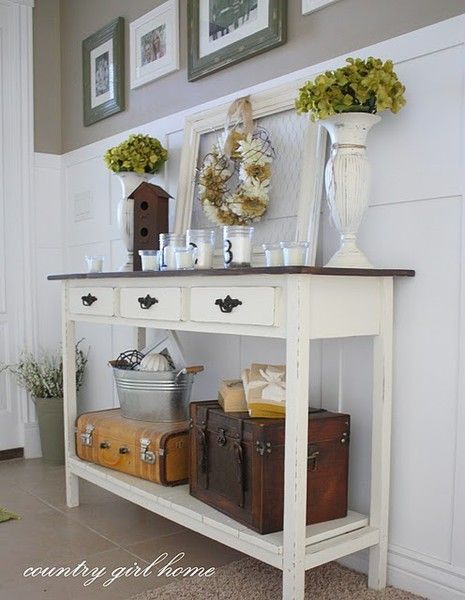 Hallway decor - old cases for storage