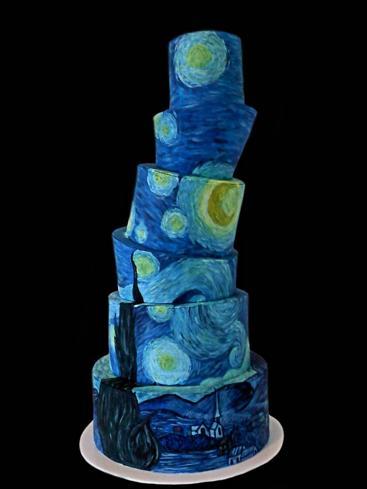 Van Gogh's Starry Night topsy turvy cake. Michael would love this!! 19th birthday? Maybe. :)