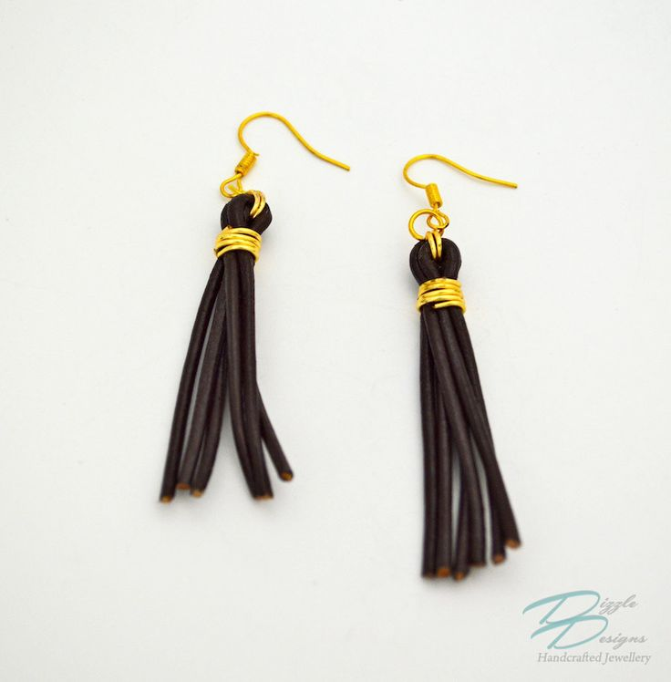 Genuine Brown Leather & Gold Wire Wrapped Tassel Erarings by DizzleDesigns on Etsy