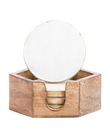 Marble+And+Gold+Coaster+Set