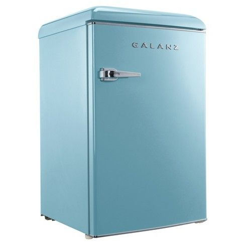 "Make a statement with the Galanz 4.4 cu. ft. Retro Refrigerator. This refrigerator is a cool addition to any entertainment space, dorm room or office. This item includes a 15 can dispenser, 2 liter bottle storage and a vegetable crisper. The product dimensions are 24.3"" (Depth) x 21.7"" (Width) x 35.4"" (Height). When placing under counters, the suggested distance between the product and the cabinets are: 2"" per side, 0.5"" on top and 2"" on the back. This retro ref..."