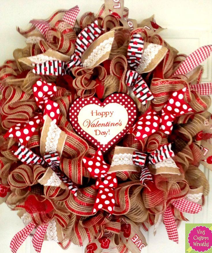 Valentine Wreath Burlap Rustic S Decoration Gift