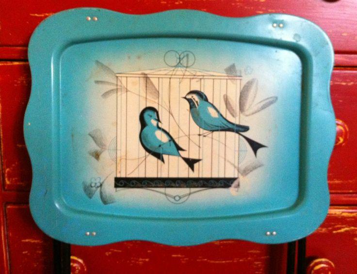 Vintage Blue Bird TV TraysFind Vintage tv trays Vintage metal trays Vintage trays