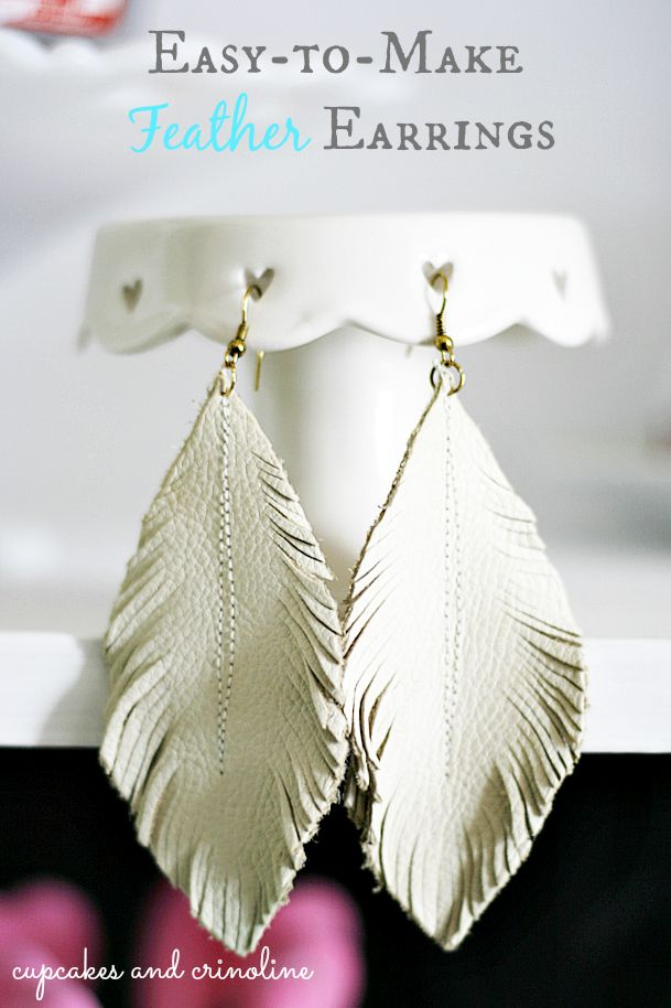 DIY leather feather earrings from leather scraps.