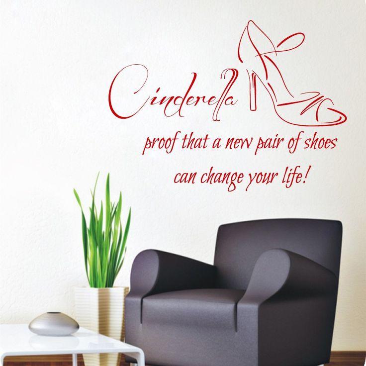 Wall Decals Vinyl Decal Sticker Beauty Shop Quote Cinderella Pair Of Shoes  Interior Design Art Mural Part 91