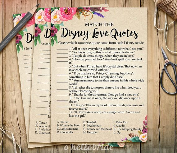 Disney Love Quotes Match Game  Printable Boho by ohellobride