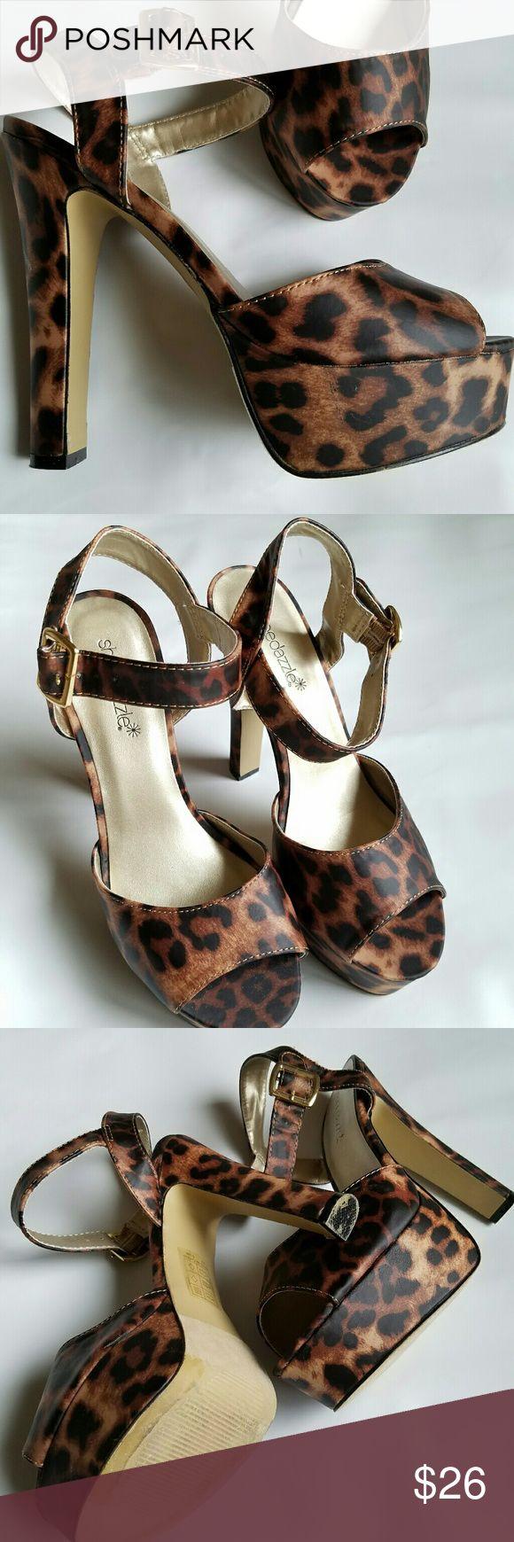 Shoe Dazzle Leopard Print High Heel Sandal Size 7 Shoe Dazzle Leopard Print High Heel Sandal in great condition, close to new. Shoe Dazzle Shoes Heels