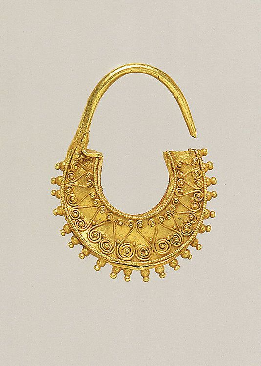 Gold crescent-shaped earring Period: Classical Date: 2nd half of the 5th century B.C. Culture: Greek, Cypriot Medium: Gold Dimensions: H. 2....