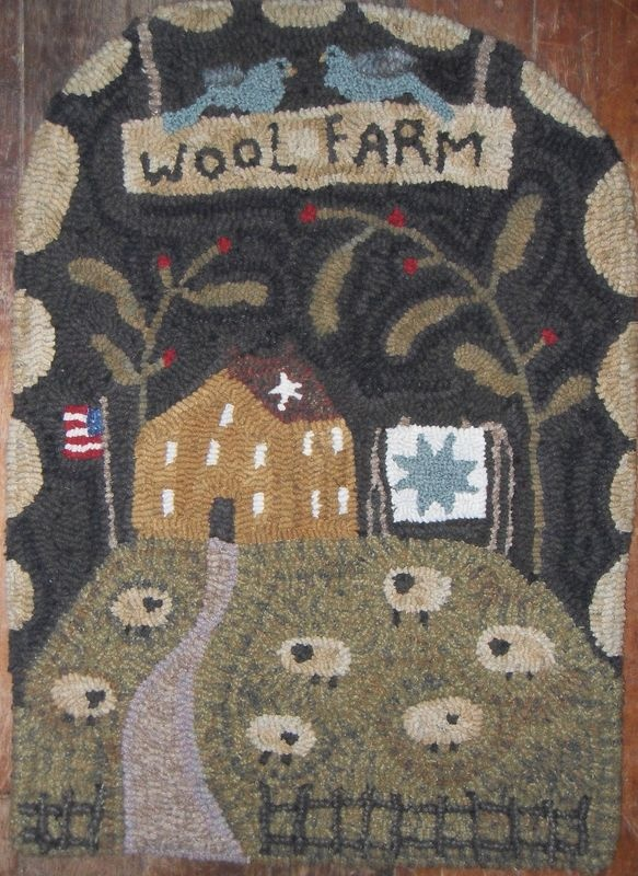 Primitive Wool Farm Sheep Bluebirds Hand Hooked Rug By Plumruncreek Prhg