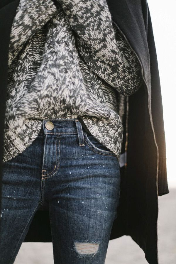 coat, knit & jeans #style #fashion
