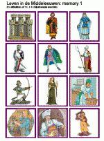 Memory Leven in de Middeleeuwen 24 kaartjes - Kan gecombineerd worden met Memory Leven in de ME - woorden