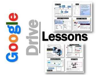 Google Drive •Create and share your work online and access your documents from anywhere. •Manage documents, spreadsheets, presentations, surveys, and more all in one location. •These Google programs are FREE. •These lessons contains screen shots, activities, marking schemes, tips and instructions for using Documents, Slides, Sheets, Drawings and Forms within Google Drive.   *  Documents is similar to Microsoft Word *  Slides is similar to Microsoft PowerPoint *  Sheets is similar to ...