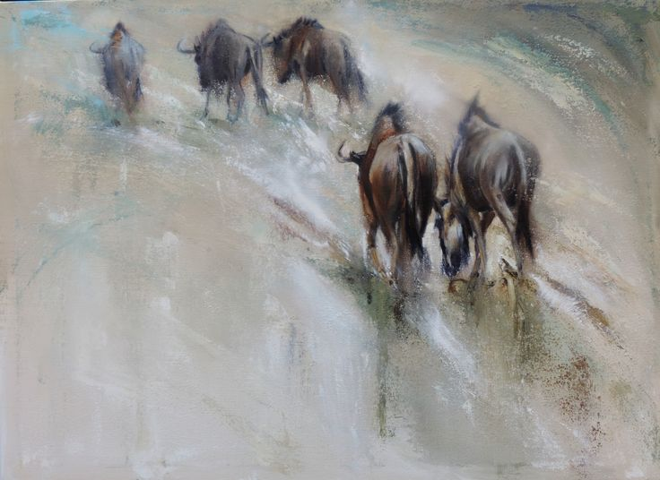 Painting by Mariana Zwaan. On the Road Again. oil. Blue wildebeest of the Kgalagadi Game Park in South Africa.