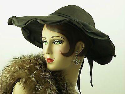 VINTAGE HAT 1940s WWII ERA BEAUTIFUL BLACK CASABLANCA LADIES HAT FORTIES GLAMOUR