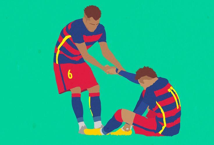 Amazing football illustration of FC Barcelona's Neymar and Dani Alves. a football report