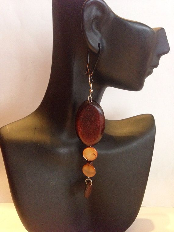 African Inspired Wooden Dangles by UniqueDesignsbyZee on Etsy